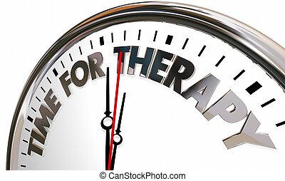 aide, horloge, sentir, illustration, mieux, thérapie, temps, services médicaux, 3d