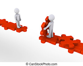 aide, offrande, puzzle, personne, autre, sentier