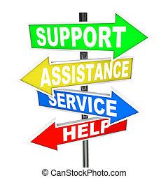 aide, service, point, assistance, solution, flèche, signes, soutien