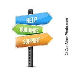 aide, soutien, direction, panneaux signalisations