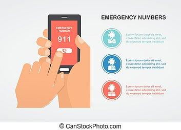 aide, urgence, mobile, nombre, main, téléphone, presse, appeler 911