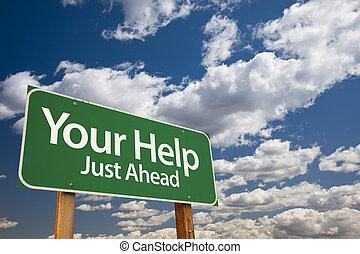 aide, vert, ton, panneaux signalisations