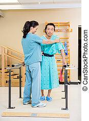 aider, patient, marche, thérapeute, mâle, physique