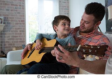aider, sien, père, fils, guitare jouer