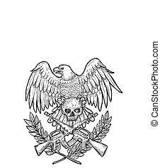 aigle, assaut, dessin, crâne, fusil