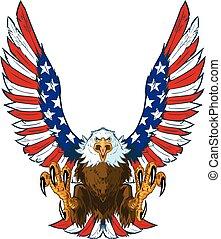 aigle, drapeau, américain, ailes