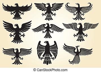 aigle, ensemble, héraldique