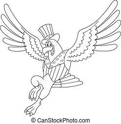 aigle, esquissé, patriotique, voler, sourire, dessin animé, caractère