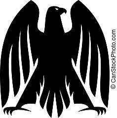 aigle, héraldique, silhouette, impressionnant, impérial