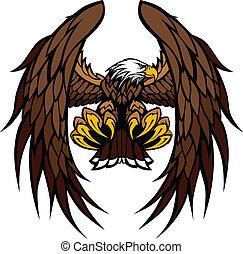 aigle, mascotte, vecteur, ailes, griffes