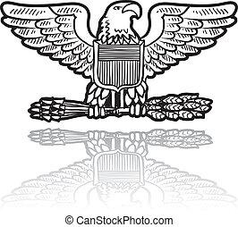aigle, militaire, insigne, su