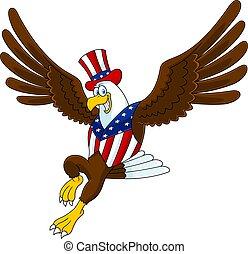 aigle, patriotique, voler, sourire, dessin animé, caractère