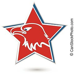 aigle, symbole, étoile, rouges, logo