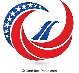 aigle, usa, symbole, drapeau, vecteur, logo