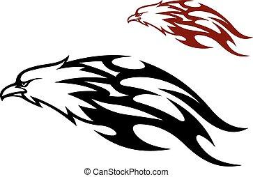 aigle, voler, traîner, flammes