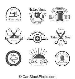 aiguille, vecteur, ou, dé, tailleur, salon, magasin, icônes, ciseaux, bouton, couture