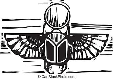 ailé, scarabée, égyptien