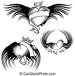 ailé, tatouage, tribal, ensemble, coeur