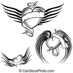 ailé, tatouage, tribal, set1, coeur
