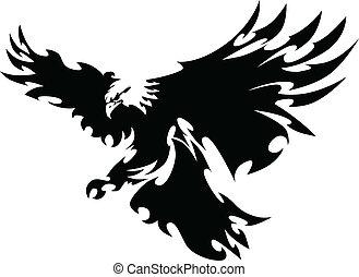 ailes, aigle, mascotte, conception, voler