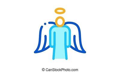 ailes, animation, saint, ange, icône