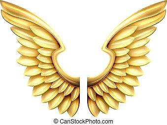 ailes métal, or