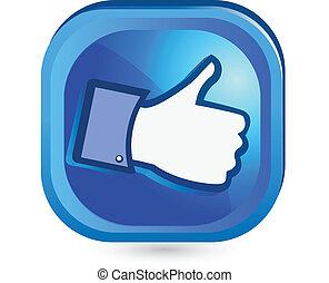 aimer, bouton, il, haut, facebook, pouce