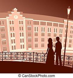aimer, city., soir, couple