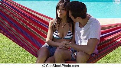 aimer couple, hamac, jeune, séance