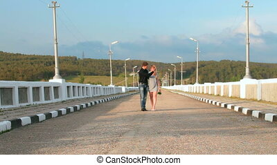 aimer, marche, route, long, couple