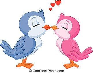 aimer oiseaux, baisers, deux, dessin animé