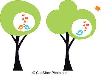 aimer oiseaux, vecteur, arbre
