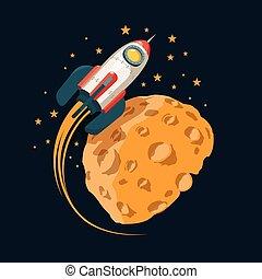 aimer, planète, fusée, lune, orbites, espace