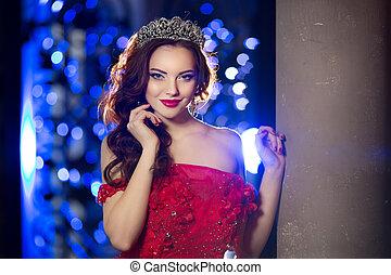 aimer, robe, lux, reine, femme, couronne
