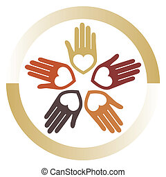 aimer, uni, mains, vector.