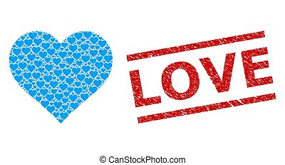 aimez coeur, gratté, composition, cachet, timbre, recursive, articles