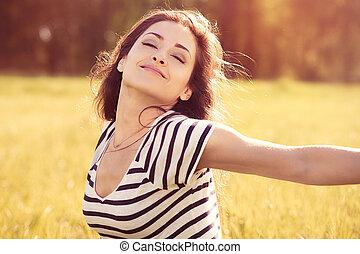 air, apprécier, frais, fond, nature, jour ensoleillé, beau, été, femme relâche