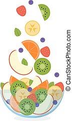 air, fruit, voler, salade, ingrédients