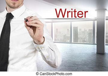 air, homme affaires, écrivain, bureau, écriture