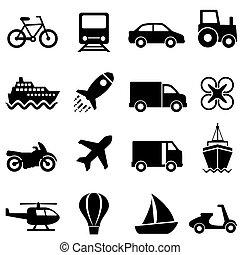 air, transport, terre, eau, ensemble, icône