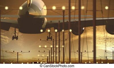 airbus, beau, avion ligne, ciel, a340-600, atterrissage, aéroport, coucher soleil, contre