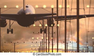 airbus, beau, avion ligne, ciel, atterrissage, contre, aéroport, a321, coucher soleil, nuageux