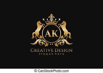 ak, deux, retro, cercle, projets, couronne, doré, écusson, crête, parfait, défilements, royal, gabarit, initiale, luxueux, marquer, -, chevaux