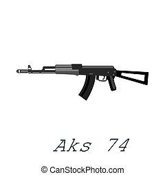ak74, vecteur, illustration, arme, ou, fusil, isolé, assaut, protection, balles, fond, fusil, noir, blanc, militaire, automatique, guerre, shoting