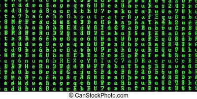 aléatoire, computer., fond, vert, coup, concept, keeper., personnel, virus, moniteur, glitch, train de données, macro, introduire, bureau, noir, symboles