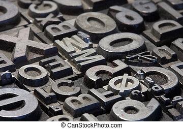 aléatoire, lettres, plomb, letterpress, arrangement
