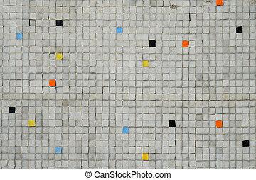 aléatoire, mosaïque, carrelé, gris, modèle, mur, couleur d'arrière-plan