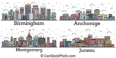 alabama, horizon, juneau, white., bâtiments, contour, couleur, isolé, ville, montgomery, alaska, anchorage, birmingham