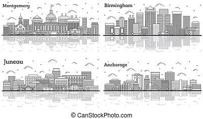 alabama, juneau, horizons, contour, ensemble, bâtiments., ville, montgomery, alaska, anchorage, birmingham, moderne
