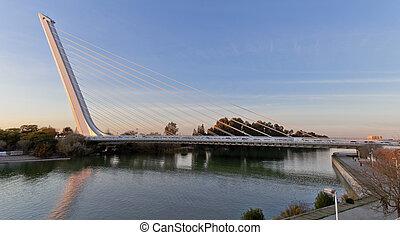 alamillo, santiago, pont, sur, séville, architecte, rivière guadalquivir, calatrava